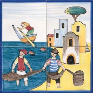 pannelli decorativi in ceramica pescatori