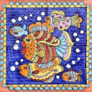 pannelli decorativi in ceramica pesci brugman