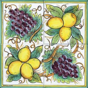 pannelli decorativi in ceramica uva e limoni bianco
