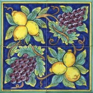 pannelli decorativi in ceramica uva e limoni blu